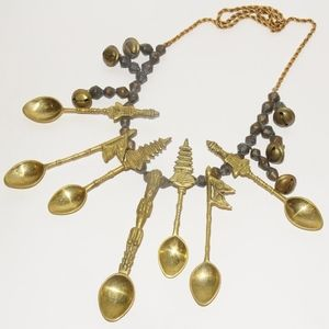 Jewelry - Vintage Indian Tibetan Spoon Gold Antique Necklace